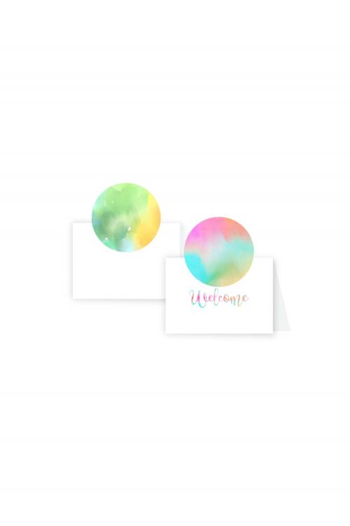 Cartão Boas-vindas Tie Dye | Dupla face. A partir de