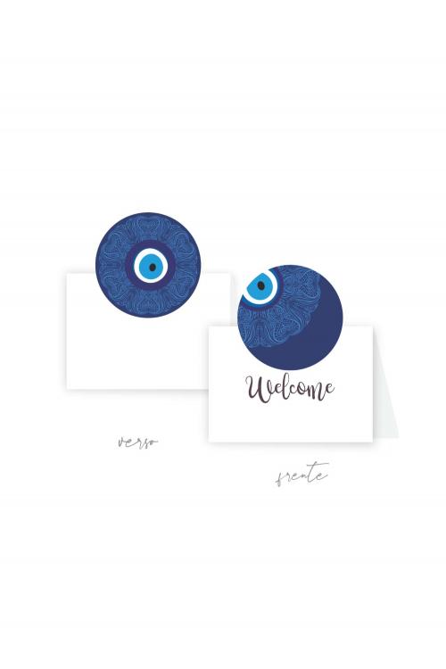 Cartão Boas-vindas Olho Grego | Dupla face. A partir de