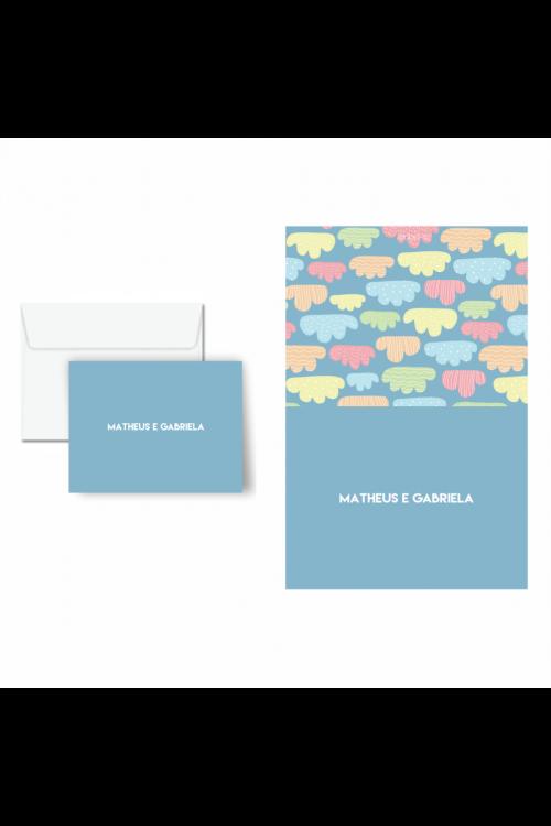 Cartão De Mensagem Infantil Nas Nuvens   a partir de 10 unidades