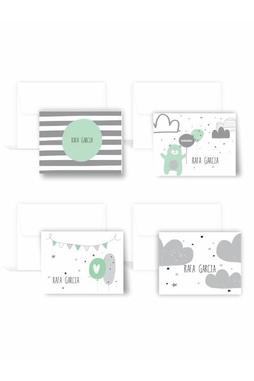 Conjunto Cartão Infantil Hello | 12 unidades