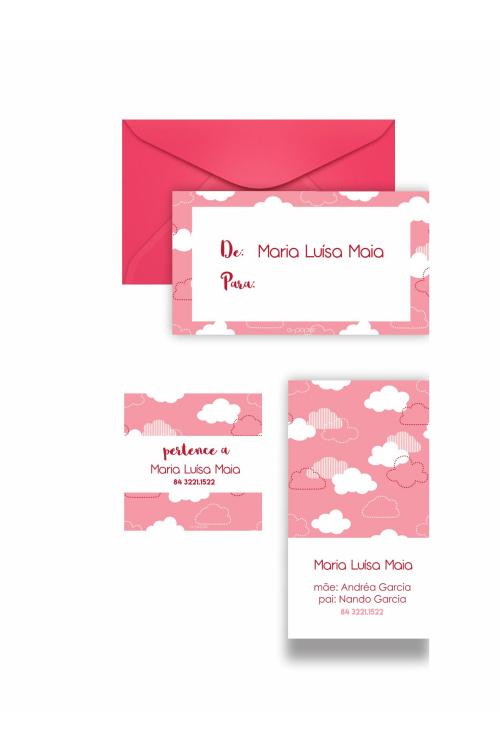 Conjunto Nas Nuvens Cor-de-rosa| Kit