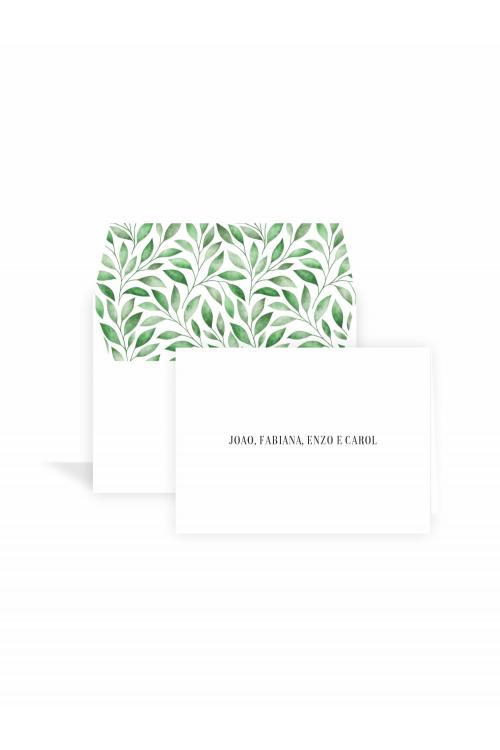 Cartão Folhas Aquarela Wonder | a partir de 10 unidades