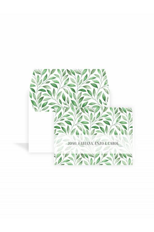 Cartão Folhas Aquarela Supreme | a partir de 10 unidades